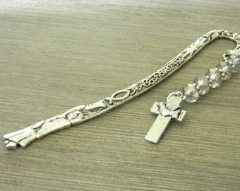 Holy Spirit Dove Bookmark with Smoky Quartz Glass Beads Silver Color Shepherd Hook Christian Bookmark
