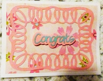 Congrats Handmade Greeting Card, Pink Swirl Congratulations  Greeting Card, Made in the USA, #396