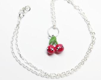 handmade polymer clay kawaii cherry necklace