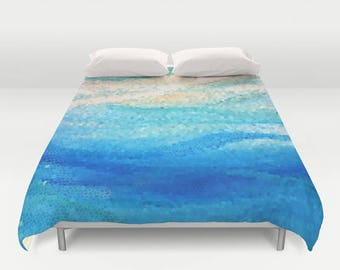 "Coastal Duvet Cover or comforter - ""Sun Sand Surf""  beach mosaic wave, bedroom linens, blue wavy, calming,  beautiful modern mosaic"