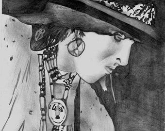 Pencil Portrait print of Andy McCoy of Hanoi Rocks