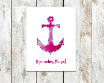Pink Watercolor - Hope Anchors the Soul Inspirational Notecard - Anchor Inspired Folded Cards