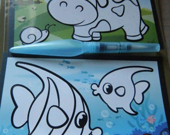 set of 2 coloring with magic brush in water for coloring child fish and cow