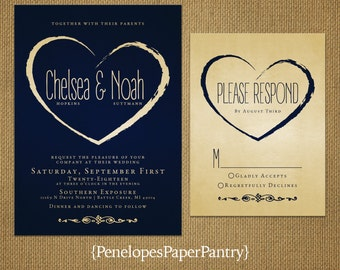 Navy and Gold Wedding Invitation,Navy Blue,Gold,Modern,Heart,Sophisticated,Romantic,Shimmery,Printed Invitations,Invitation Sets,Envelopes