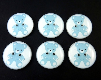 "6 Blue Teddy Bear Buttons. Sewing buttons. 3/4"" or 20 mm.  Washer and Dryer Safe.  Children's Buttons."