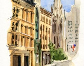 4x6 Original Watercolor Painting - Grace Church