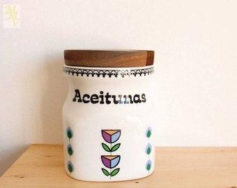 Kitchen Canister, Olive Jar, kitchen storage, Retro style, Olives,