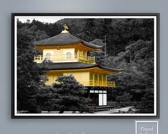Kyoto Golden Temple Wall Art Print Poster - World Wonder, Japan, buildings, Japanese, Printable, Modern Abstract Home Decor Instant Download