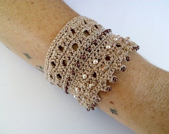 Crochet Bracelet Cuff Bracelet Gold Bracelet Knitted Jewelery Crochet Pattern Bracelet Gold Beaded Bracelet Official Crochet Jewelry Bridal