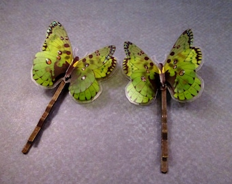 Set of 2 Butterfly Bobby Pins, 3-D Hair Accessories, Green and Brass Hair Clips, FREE Shipping U.S.