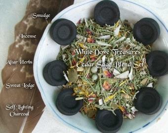 Organic Sage Cedar Herbal Smudge Blend 2oz ~ 6oz & 8 Charcoal Discs ~ Florals Botanicals White Sage Juniper ~ Sweat Lodge Altar Herbs