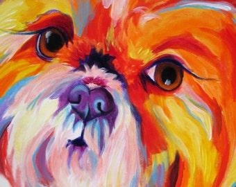 Custom Pet Portrait, 10x10, DawgArt, Pet Portrait, Custom Dog Painting, Custom Cat Painting, Colorful Dog Art, Pet Portrait Artist