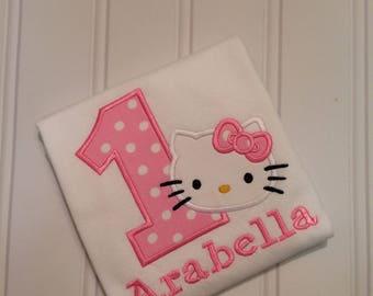 Hello Kitty Shirt - Hello Kitty Birthday Shirt - Custom Birthday Shirt - First Birthday Shirt
