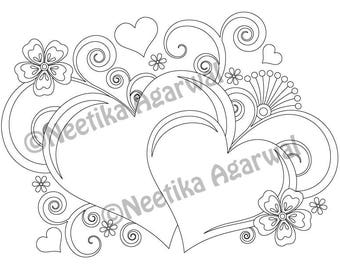 Two Hearts - Valentine - Adult Coloring Page - Valentine's Day Coloring Page - Printable Coloring Page - Digital Download