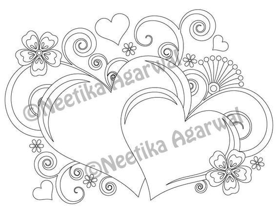 Two Hearts Valentine Adult Coloring Page Valentines