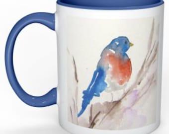 Ceramic Mug, Bird Watercolor Design , 11 ounce