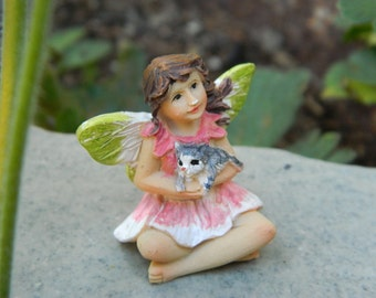 Fairy Garden Accessories Small Fairy with cat Miniature Garden Fairy Figurine Small Pink fairy with kitty