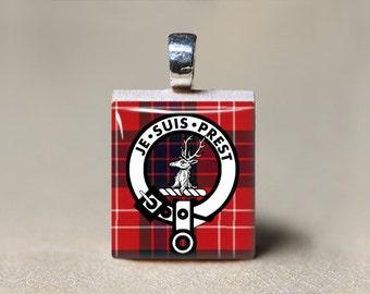 Je Suis Prest Necklace, Fraser Clan Motto, Scottish Tartan Plaid, Fraser Crest Pendant, Fraser Tartan, Scrabble Tile, Scottish Jewelry