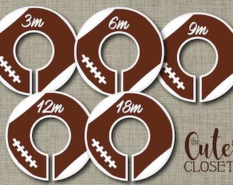 Baby Closet Dividers - Go Team- Clothes Organizers Nursery Decor Baby Shower Gift - Football