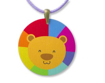 Kids Jewellery Necklace WOODEN ***RAINBOW LION***