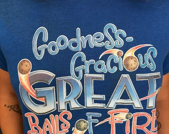 """Vintage """"Goodness Gracious Great Balls of Fire """" Blue Soft Tshirt Tee"""
