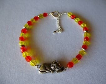 Cat bracelet Orange and yellow beads for wrist or ankle