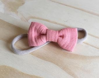 Cotton gauze coral double bow headband