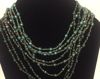 Authentic Vintage Multi Stand Green/Brown Beaded  Statement Necklace