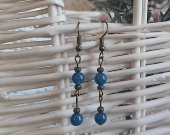 Blue and moss green beaded earrings
