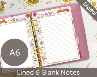 A6 RINGS Notes Printable, Lined & Blank Notes, Filofax A6 printable refills, Journaling, Nilaria Red Bird DIY Planner PDF Instant Download