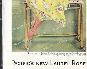 1955 Print Ad - Pacific Mills, Pacific Supersorb Towels, Pacific Contours Sheets,- Carpet Institute, Inc