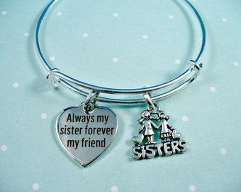Sister Bangle Bracelet, Forever My Friend Bangle Bracelet,,  Sisters Charm, Stainless Steel Bangle Bracelet, Adjustable Size, Gift For Her