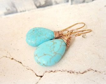 Turquoise Earrings Gold. Gold Wire Wrapped Turquoise Howlite Dangle Earrings. Turquoise Jewelry. Gold and Turquoise Earrings.Wedding Jewelry