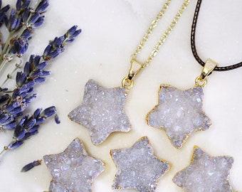 Iridescent Druzy Star Pendant Necklace - White Druzy Star - Star Necklace - Druzy Geode Stone Jewellery - Cute White & Gold Druzy Pendant