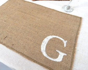Custom Initial Burlap Placemats, Burlap Place Mats, Holiday Burlap Place Mat, Holiday Decor, Rustic Place Mat, Hessian Place Mats