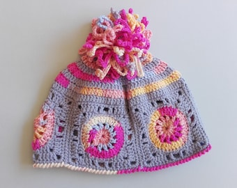 Rainbow mandala Beanie hat Pink rainbow Crazy hat Crochet hat Granny square hat Mandala hat  Spring hat Gift idea Colorful hat  Crazy beanie