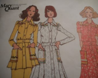 Vintage 1970's Butterick 6651 MARY QUANT Dress, Tunic and Pants Sewing Pattern 10 Bust 32.5