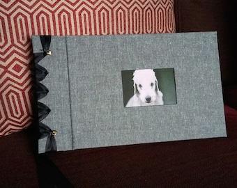 Handmade, personalised, self mount, ribbon bound photo album