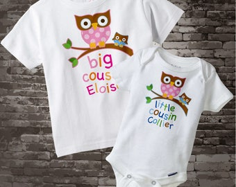 Set of Two Big Cousin Owl Shirt and Little Cousin Owl Onesie - Personalized Owl Tee Set of Two for cousin girl and boy 08132012a