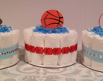 Set of 3 Sports Diaper Cakes, Baby Boy Diaper Cake, Baby Shower Centerpiece, Boy Diaper Cake, Baby Shower Gift, Diaper Cake
