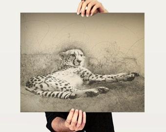 Cheetah Digital Sketch Art - Digital Download Printable