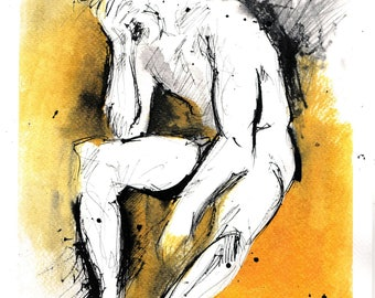 Nude painting on paper A4 (11,6x8,3in) - male nude sketch