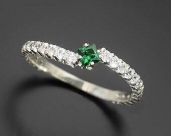 Emerald ring, Dainty ring, Tiny ring, Gold engagement ring, Minimalist ring, Emerald jewelry, Emerald diamond ring, May birthstone