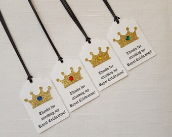 Gold Crown Medieval Knight Birthday Party Favor Tags: Thanks for attending my Royal Celebration!, Set of 12, Prince/King Thank You Tag