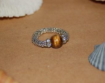 Tiger Eye Swarovski Crystal Ring