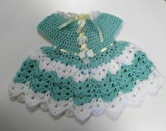 dress, crochet, green, white, baby,