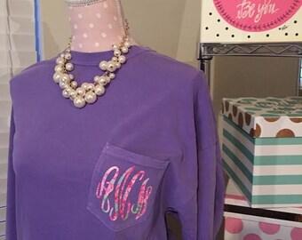 Monogrammed Comfort Colors Pocket Tee - Comfort Colors Pocket Shirt - Monogrammed Gift
