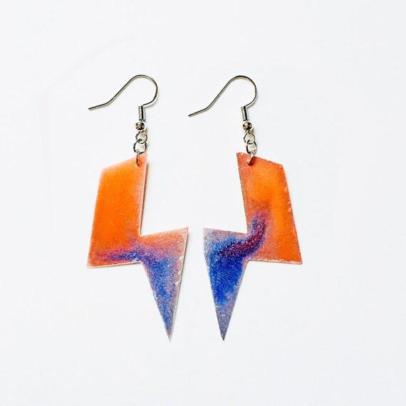 Bolt earrings - Lightning bolt dangle earrings - Ziggy stardust jewlery - David Bowie earrings - Handmade painted earrings - Gift jewelry
