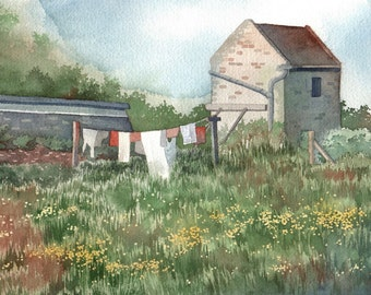 "Normandy France Garden Watercolor Painting 8.5""x11"" Print"