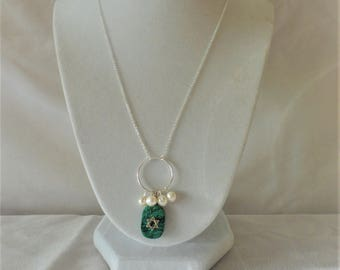 Exquisite Silver Turquoise Pearl Star Of David Pendant Necklace Set*****.